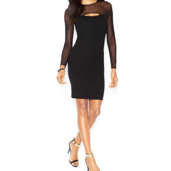 ce42060d02a French Connection Dresses   Black Longsleeve Semisheer Cutout ...